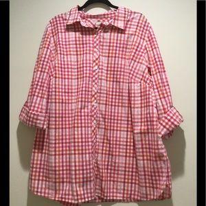Orange Pink Checker Buttoned Down T-Shirt-Size 3X